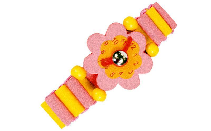 Dřevěné hodinky růžové