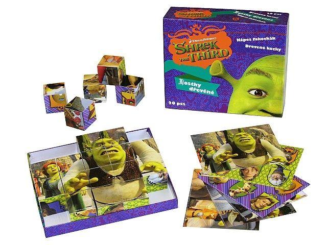 Dřevěné kostky Shrek 3