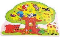 Baby puzzle veselá zvířátka 12 dílků vkládačka strom