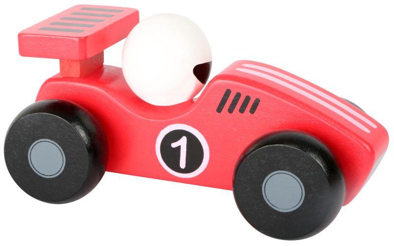 Dřevěné závodní autíčko červené