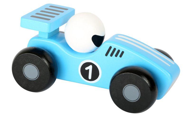 Dřevěné závodní autíčko modré