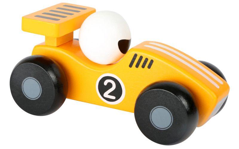 Dřevěné závodní autíčko žluté
