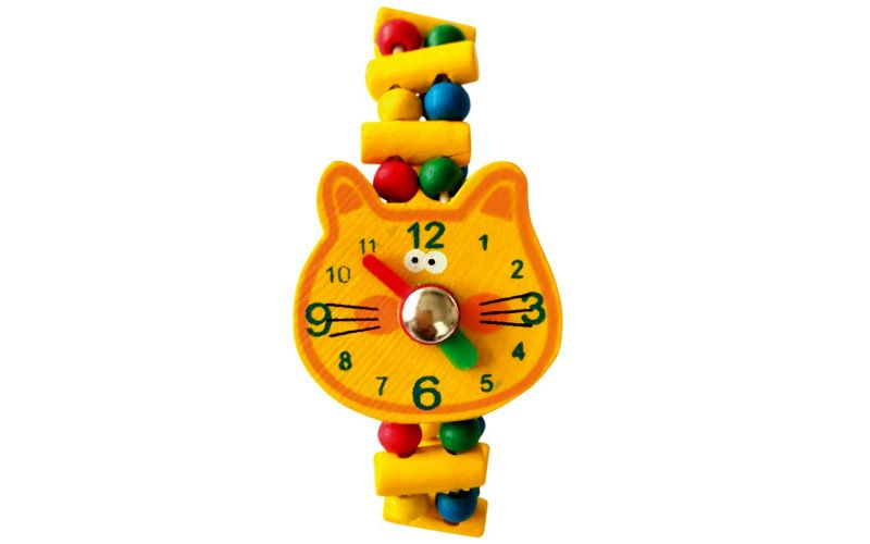 Bino Dřevěné hodinky Kočka