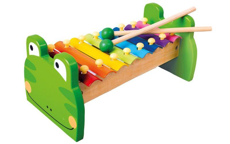 Kovový xylofon žabka
