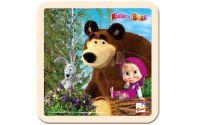 Dřevěné puzzle Máša a medvěd se zajícem 4 dílky