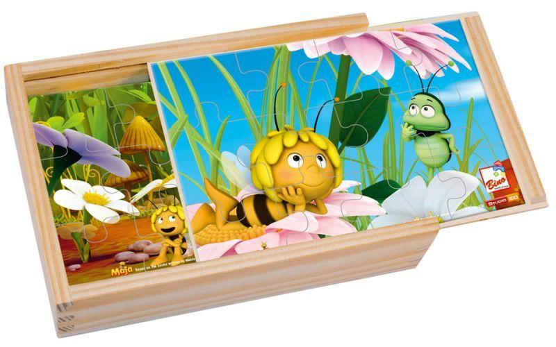 Dřevěné hračky - 4 puzzle v krabičce - Včelka Mája Bino 13630