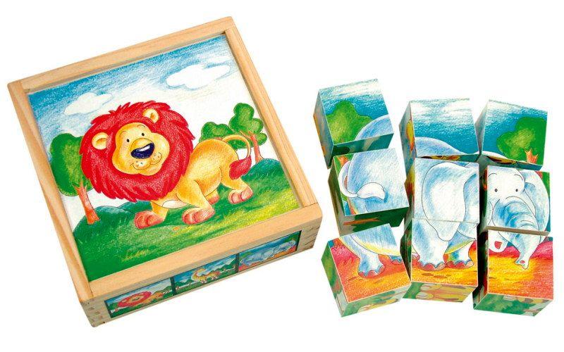 Bino Obrázkové kostky Divoká zvířata 9 ks