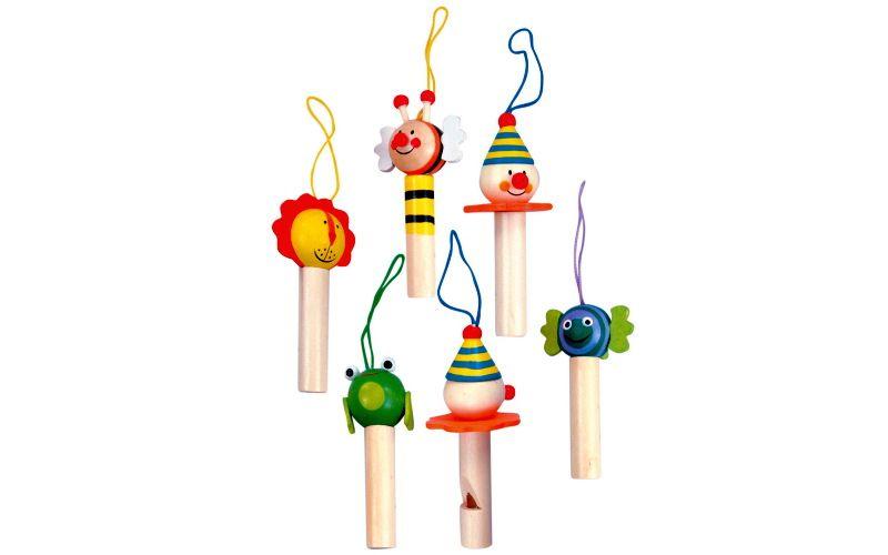 Dřevěná píšťalka s dětským motivem