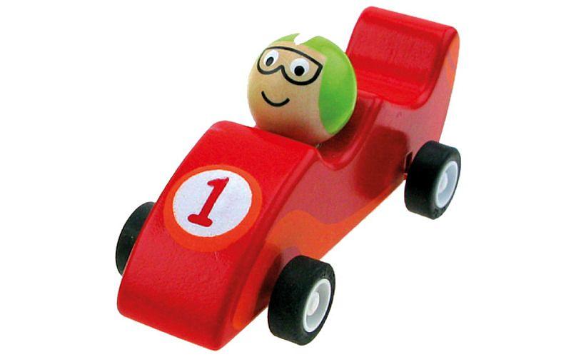 Dřevěné autíčko se setrvačníkem, červené