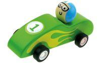 Dřevěné autíčko se setrvačníkem, zelené