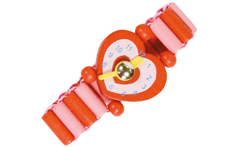 Bino Dřevěné hodinky červené