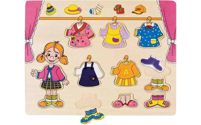 Dřevěné oblékací puzzle šatník