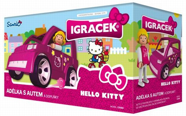 IGRÁČEK & HELLO KITTY Adélka s autem a doplňky