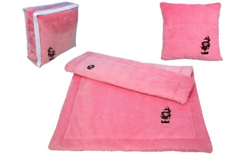 MU Brno Sada deka + polštář Malá čarodějnice - růžová