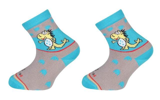 Trepon Dětské bavlněné ponožky DINOS - šedé Velikost 22-24