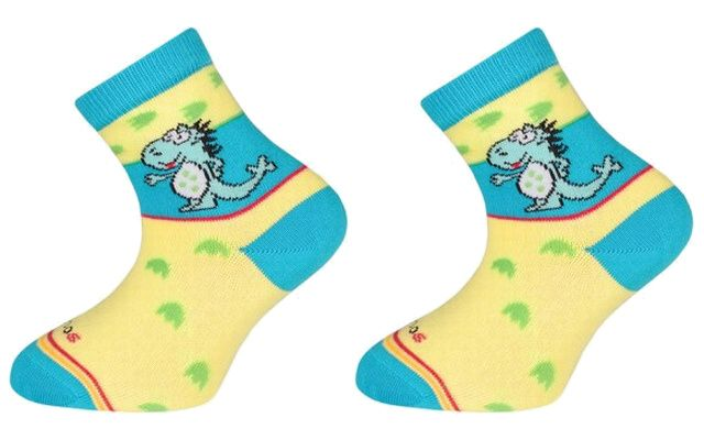Trepon Dětské bavlněné ponožky DINOS - žluté Velikost 22-24
