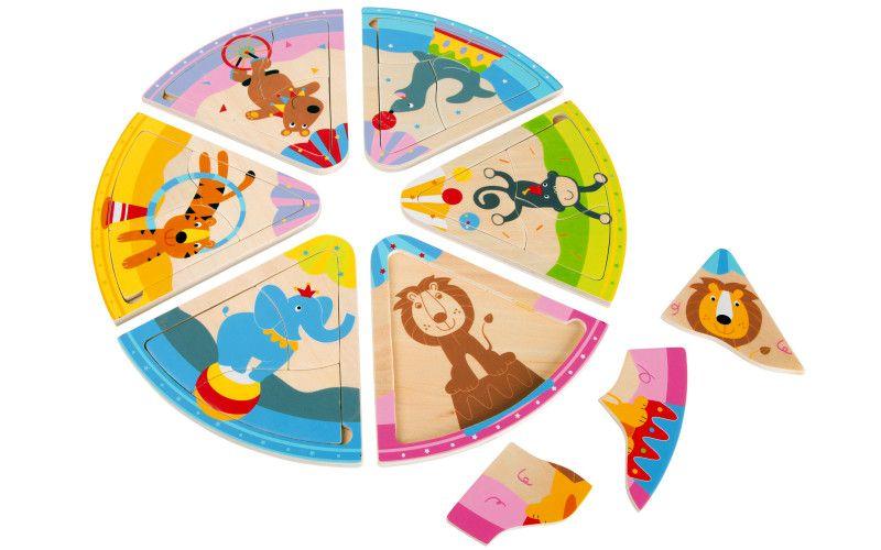 Dřevěné puzzle Cirkusová zvířata