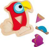 Dřevěné puzzle Papoušek