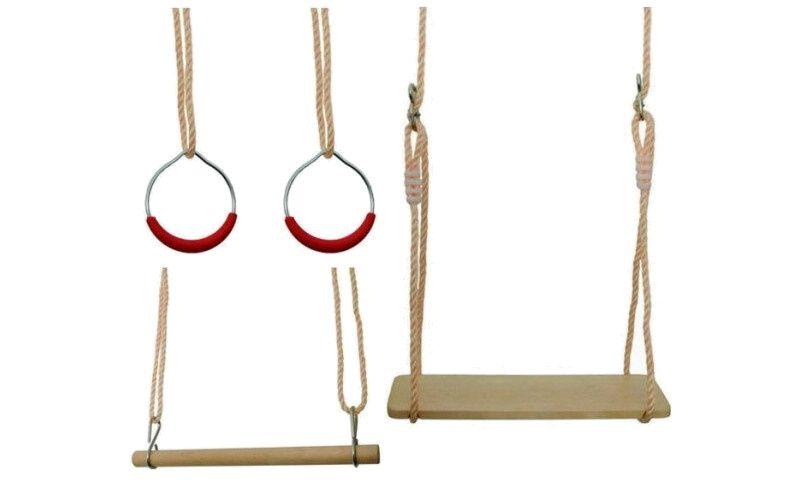 Gymnastický set 3 v 1 - houpačka, kruhy, hrazda