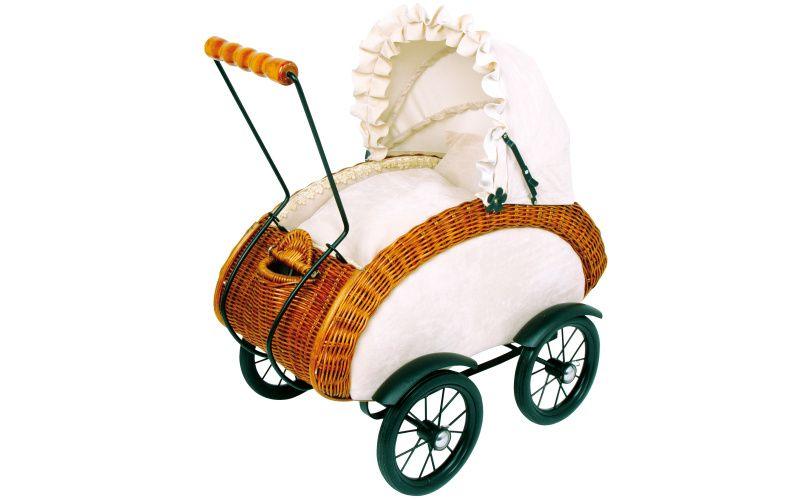 Proutěný kočárek pro panenky Leonor