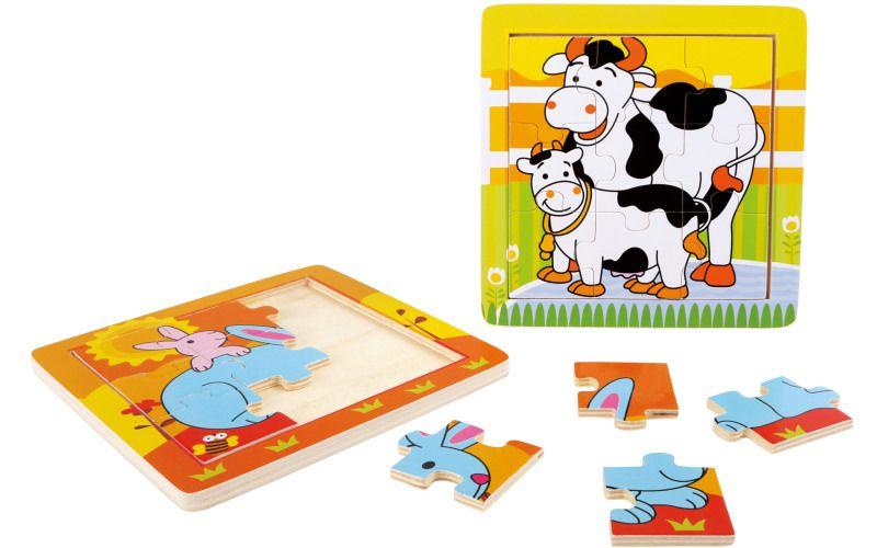 Puzzle v rámečku, Zvířecí rodina 2ks