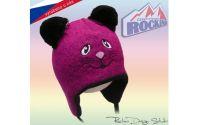 Dětská čepice ROCKINO Kočička se šňurkami fialová