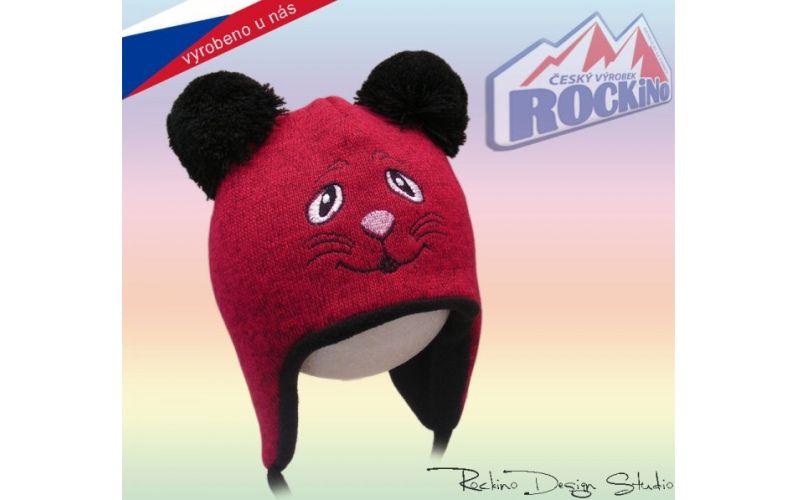 Rockino Dětská čepice ROCKINO Kočička se šňurkami tmavě růžová Velikost 48