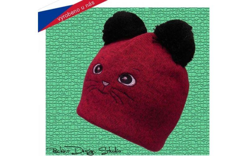 Rockino Dětská čepice ROCKINO Kočička tmavě růžová Velikost 48