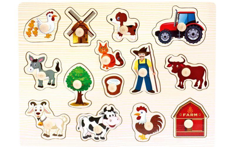 Dřevěné puzzle farma, 14 dílků