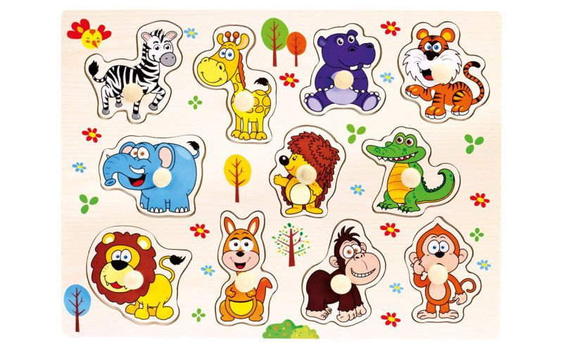 Bino Dřevěné puzzle safari 11 dílků