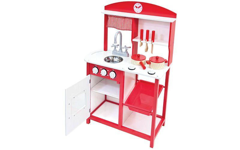 Bino Dětská dřevěná kuchyňka s příslušenstvím 5ks