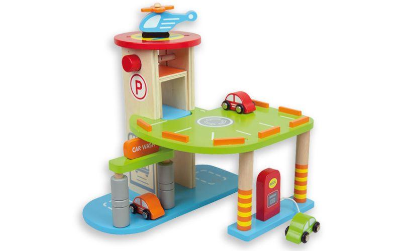 Parkovací dům s autíčky a vrtulníkem
