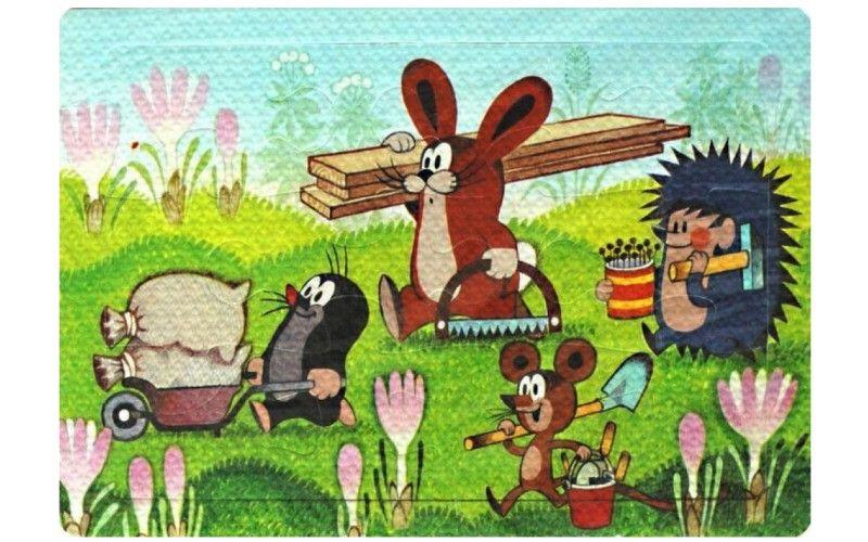 Pěnové puzzle Krtek a přátelé při práci 12 dílků