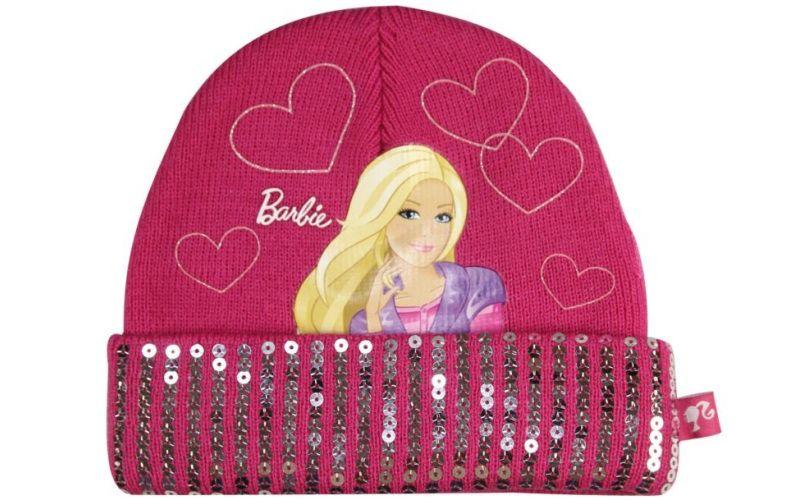 Zimní čepice Barbie s flitrovým lemem
