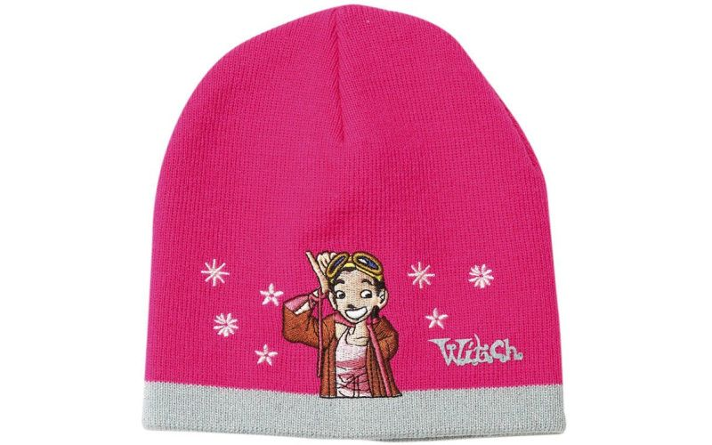 Zimní čepice růžová Witch